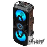 Портативная акустика Ginzzu GM-207 Midi 400W(пиковая), RGB, BT, USB, TF, FM, ДУ, черный (17039)