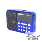 Портативная акустика Сигнал РП-224 3W, FM, USB, microSD, фонарь, черный/синий