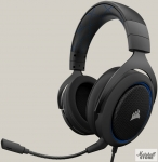 Гарнитура Corsair HS50, mini jack 3.5 mm, черный/синий (CA-9011172-EU)